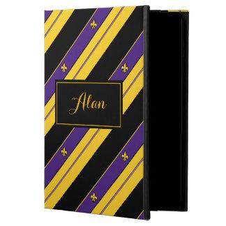 Purple, Gold and Black Fleur-de-lis Pattern iPad Air Cases