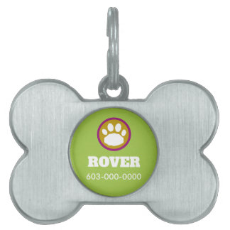 Purple, Gold, and Green Dog Paw Print Pet ID Tag