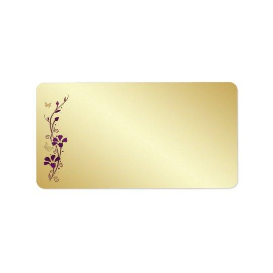 Purple, Gold Butterfly Floral Blank Address Label
