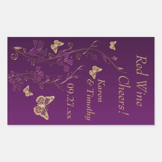 Purple, Gold Butterfly Floral Wine Label Sticker
