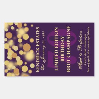 Purple Gold Champagne Bubbles Birthday Label 750ml Stickers