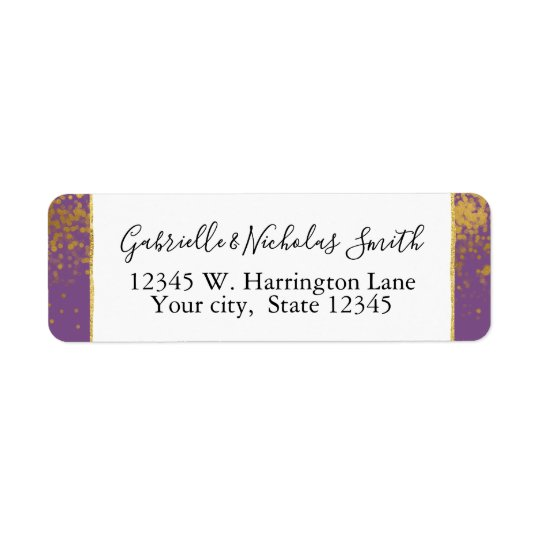 Purple Gold Confetti Dots