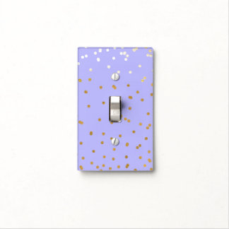 Purple & Gold Confetti Dots Modern Glamour Glam Light Switch Cover