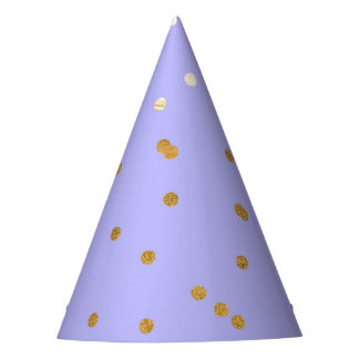 Purple & Gold Confetti Dots Modern Glamour Glam Party Hat