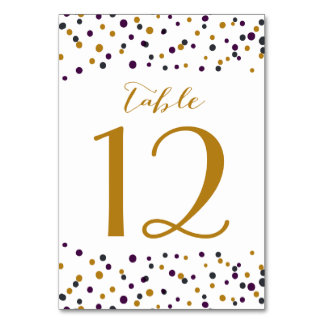 Purple & Gold Confetti Dots Table Numbers
