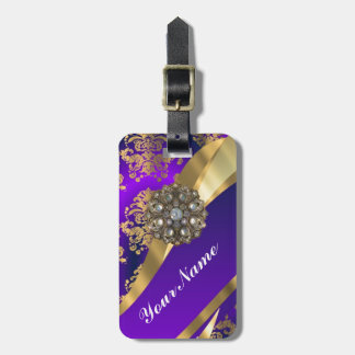 Purple & gold damask luggage tag