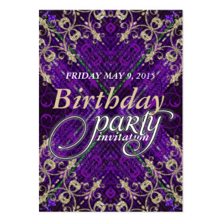 Purple Gold Deco Birthday Party Invitation Cards Business Cards