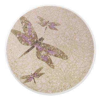 Purple & Gold Dragonflies Dragonfly Custom Chic Ceramic Knob