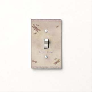 Purple & Gold Dragonflies Dragonfly Glitter Glam Light Switch Cover