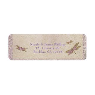Purple & Gold Dragonflies Dragonfly Invitation Return Address Label