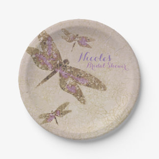 Purple & Gold Dragonflies Dragonfly Party Custom Paper Plate