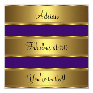 Purple & Gold Fabulous 50th Birthday Party Event Card