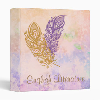 Purple & Gold Feathers Peach Watercolor Fantasy 3 Ring Binder