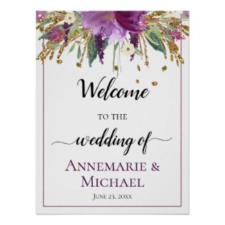 Purple Gold Floral 18x24 Welcome To The Wedding Poster