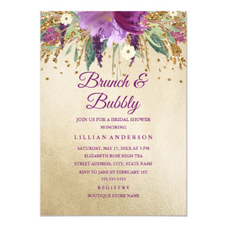 Purple Gold Floral Amethyst Brunch and Bubbly Card