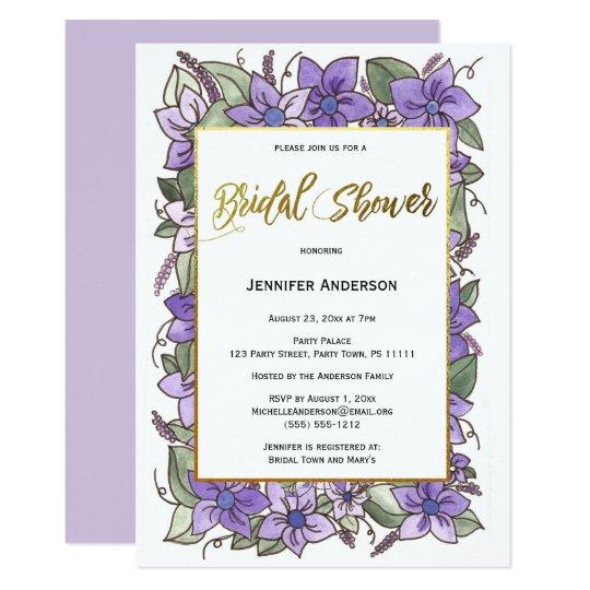 Purple Gold Floral Bridal SHower Card