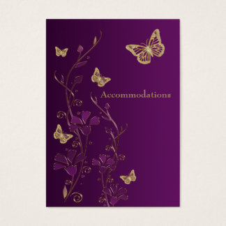 Purple, Gold Floral Butterflies Enclosure Card