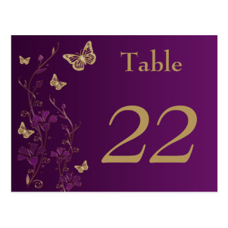 Purple Gold Floral Butterflies Table Number Card Postcards