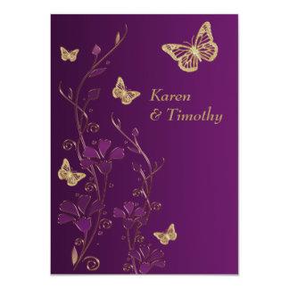 Purple, Gold Floral, Butterflies Wedding Invite