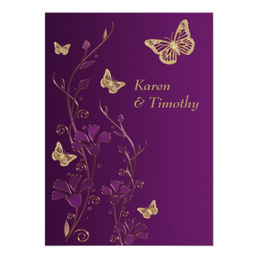 Purple, Gold Floral, Butterflies Wedding Invite