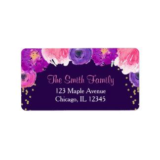 purple gold floral return address labels