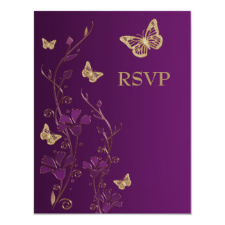"Purple, Gold Floral with Butterflies Reply Card 4.25"" X 5.5"" Invitation Card"