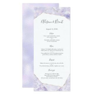 Purple gold geometric Wedding Menu or Program Card