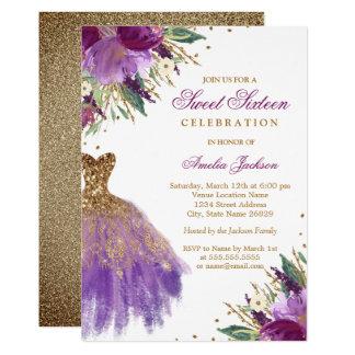 Purple Gold Glitter Amethyst Dress Sweet Sixteen Card