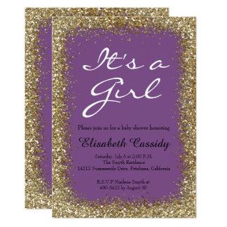 Purple & Gold Glitter  Baby Girl Shower Invitation