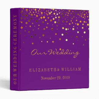 Purple Gold Glitter Faux Foil Confetti Personalize 3 Ring Binders