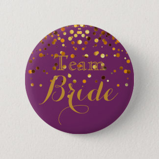 Purple Gold Glitter Faux Foil Wedding Team Bride 2 Inch Round Button