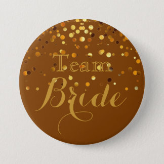 Purple Gold Glitter Faux Foil Wedding Team Bride 3 Inch Round Button