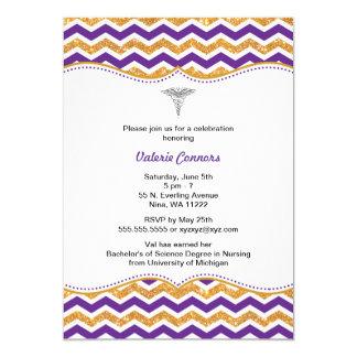 """Purple & Gold Glitter Nurse Graduation RN BSN 5"""" X 7"""" Invitation Card"""