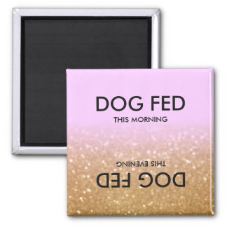 Purple Gold Glitter Ombre Feed Dog Reminder Magnet