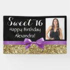 Purple Gold Glitter Photo Sweet 16 Birthday Party Banner