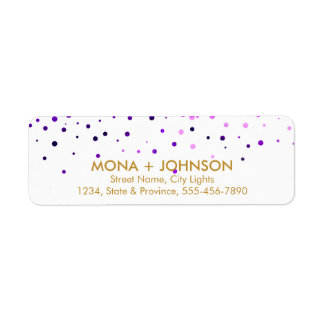Purple Gold Glitter Sparkle Confetti Dots Modern Return Address Label