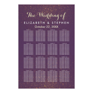 Purple Gold Glitter Sparkle Wedding Seating Chart Poster