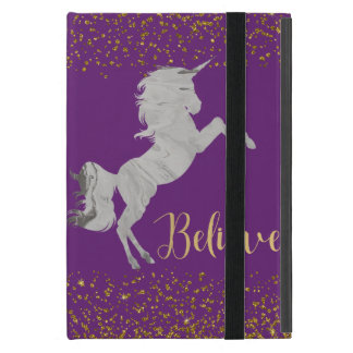 Purple Gold Glitter Unicorn iPad Case Custom