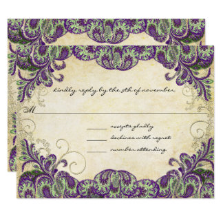 Purple Gold & Green Peacock Wedding RSVP Card