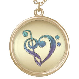 Purple Gold Green Treble Bass Clef Heart Necklace