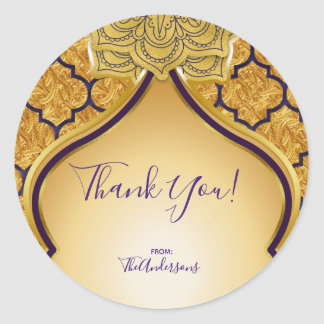 Purple & Gold Indian Arabian Moroccan Party Favor Classic Round Sticker
