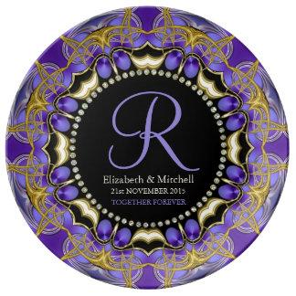 Purple Gold Lace Monogram Wedding Anniversary Gift Plate