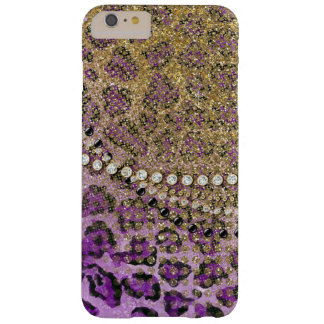 Purple Gold Leopard Animal Print Glitter Look Barely There iPhone 6 Plus Case