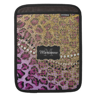 Purple Gold Leopard Animal Print Glitter Look Sleeves For iPads