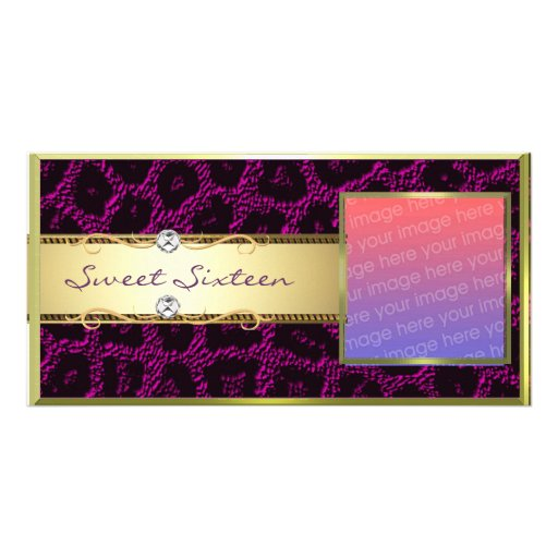 Purple Gold Leopard Sweet Sixteen Photocard Photo Card