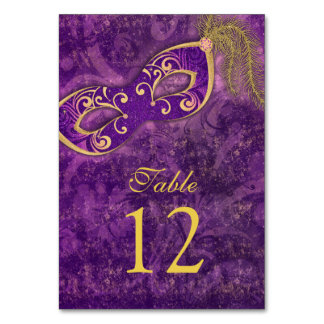Purple Gold Masquerade Ball Mardi Gras Wedding Card