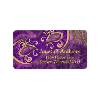 Purple Gold Masquerade Wedding Address Label