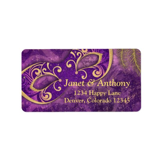 Purple Gold Masquerade Wedding Address Label