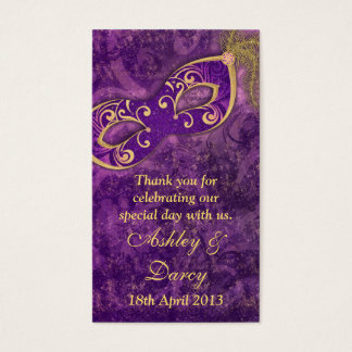 Purple Gold Masquerade Wedding Favour Tags