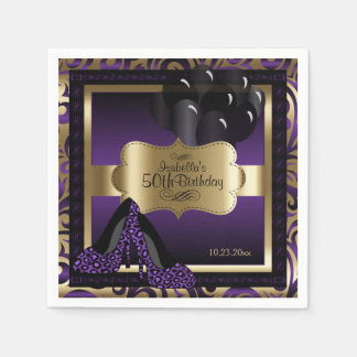 Purple & Gold Metallic - 50th Birthday    DIY Text Disposable Napkin